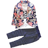 Hopscotch Baby Boys Cotton Floral Print Jacket and Pant Set in Navy Color