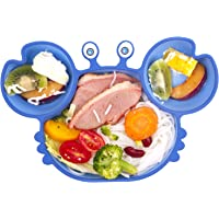Qshare Baby Silicone Suction Plate,Non Slip Toddler Divided Placemat with Strong Suction Cup Fit Most High Chair, BPA-Free Dishwasher & Microwave Safe Kid Travel Feeding Tray Baby Gift 23 * 15 * 3cm