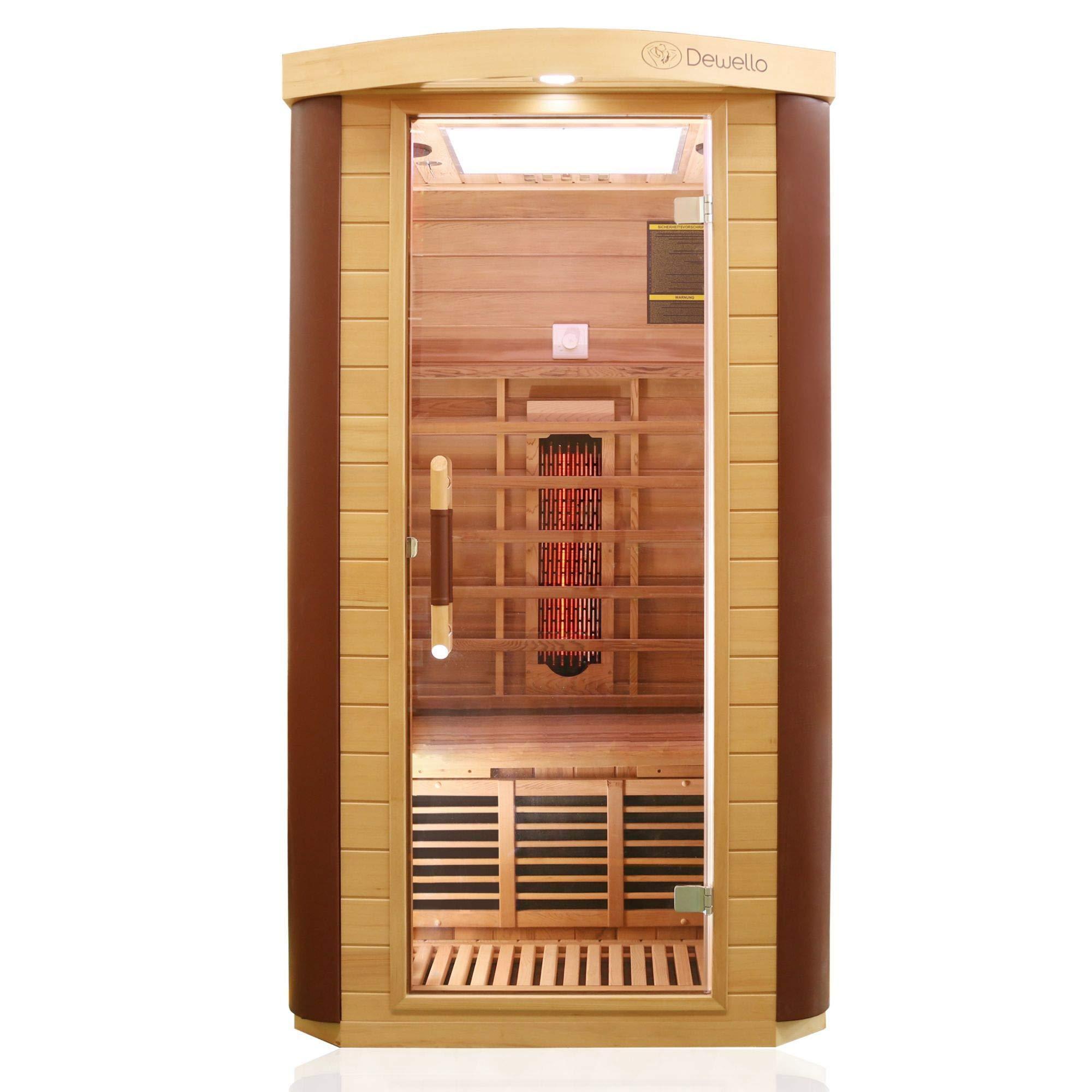 Dewello Infrarotkabine TORONTO (102x102cm) für 1 Person mit Vollspektrumstrahler