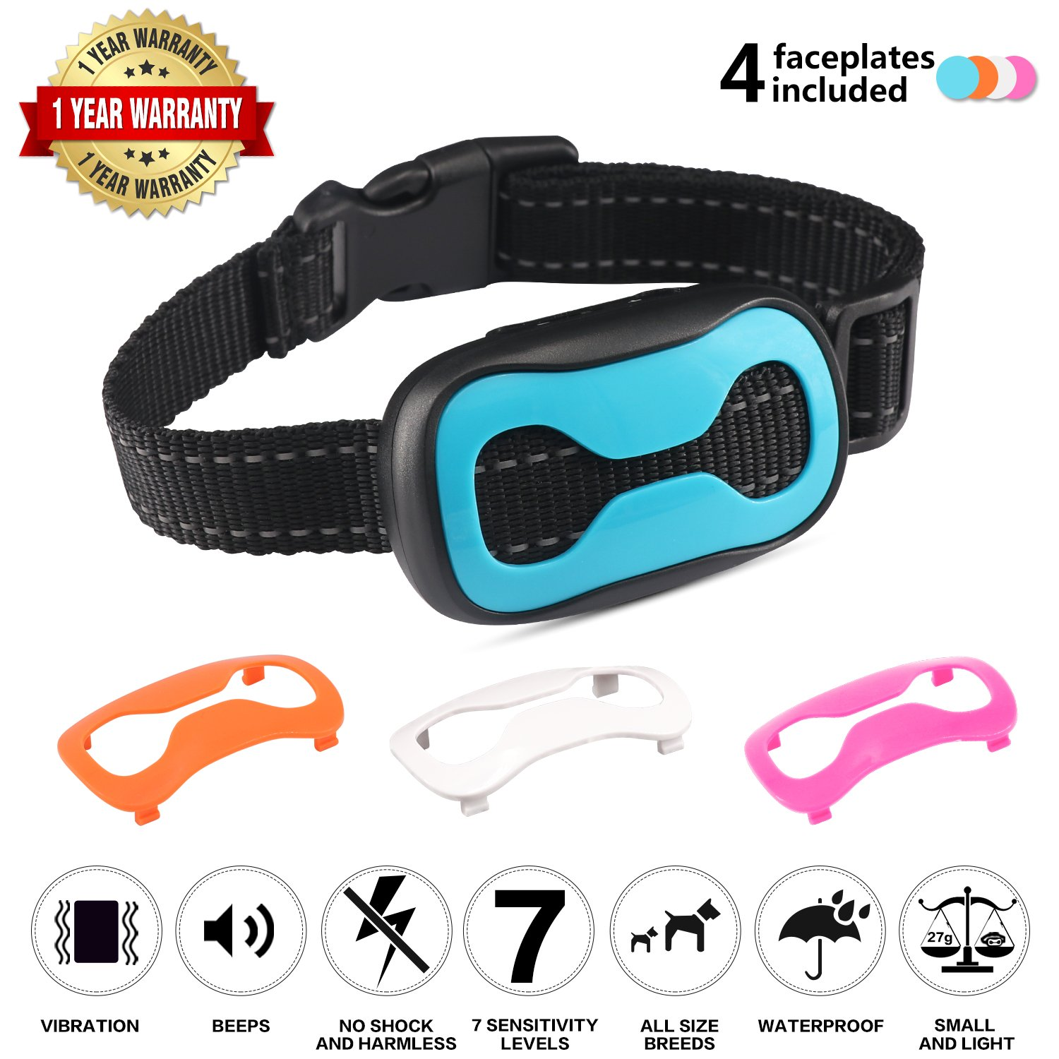 Dog Bark Collar Anti Bark – Waterproof Beep Sound Vibration Collar 7 Sensitivity Levels Adjustable Reflective Strip Anti Bark Collar for Small Medium Dogs Barking Control Training – No Harm for Dogs