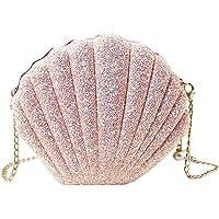 MEGAUK Damen Clutch Glitzer Muschel Abendtasche Glänzend Handtasche Strass Tasche mit Kette für Hochzeit Wedding Party