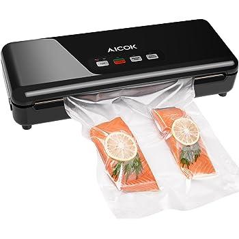 Aicok Macchina Sottovuoto per Alimenti, Macchina Sigillatrici Automatica / Manuale, per il Cibo Secco / Umido, 1 Roloto 20x300cm, Taglierina e Rullo, Colore Nero