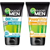 Garnier Men Oil Clear Clay D-Tox Deep Cleansing Icy Face Wash, 100gm & Garnier Men Power White Anti-Dark Cells Fairness Face