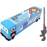 SHREE TECHNESH® Amazing Cartoon Printed School Bus Metal Pencil Box with Moving Wheels and Sharpener for Kids and Gun…