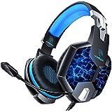 Auriculares Gaming PS4, YINSAN Cascos Gaming Premium Estéreo con Micrófono, 7 Luces LED y Orejeras de Memoria Suave, Gaming H