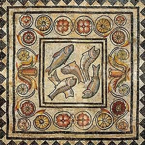 Lyon - Musée de la civilisation Gallo-Romaine - Mosaïque de l'ivresse d'Hercule (détail) - Carte postale 13,5 x 13,5 cm