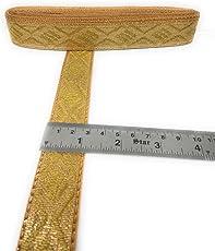 Crisskross Rajasthani Gotta Patti Lace Border, Gota Zari/Golden/Designer for Dress/Sarees/Lehenga/Suits/Blouses and Craft 2.8cm X 4meters Approx Pack