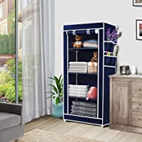 Seven Yten Metal Collapsible Wardrobe Organizer Blue ,1 Door