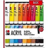 Marabu 121000201 Basic Obszerny Zestaw Farb Akrylowych, 36 ml, 16 Sztuk