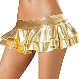 Desshok Donne Sexy Lingerie Minigonna Lucido Ruffle Skirt Gonna a Pieghe Clubwear