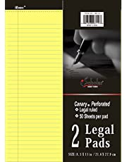 Ischolar Inc. Canary Legal Pads (8.5 x 11.75 Inches) -50 Sheets Per Pad