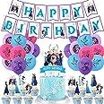 Frozen Fiesta Cumpleaños Decoración - WENTS 47PCS Azul Fiesta Guirnalda de Globos Cake Cupcake Topper Banner para Niñas Froze