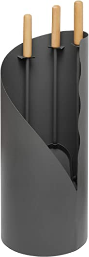 raik R1000 Kaminbesteck Otto, 3-teilig, grau, Holzgriffe, 64 cm