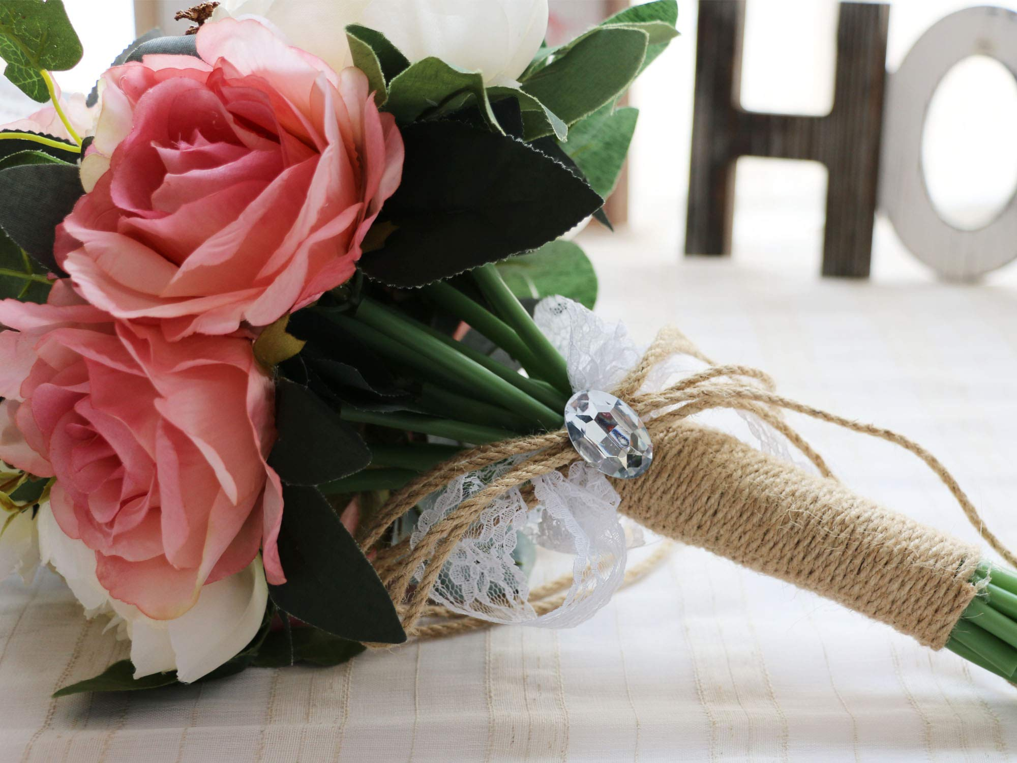 Famibay Flores Artificiales de Rosas 2 Piezas Rosas Ramo de Novia y Hogar Boda Decoración