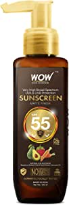 WOW Skin Science Sunscreen Matte Finish - Spf 55 Pa+++ - Very High Broad Spectrum - Uva &Uvb Protection - Quick Absorb - No Parabens, Silicones, Mineral Oil, Oxide, Color & Benzophenone, 100 ml