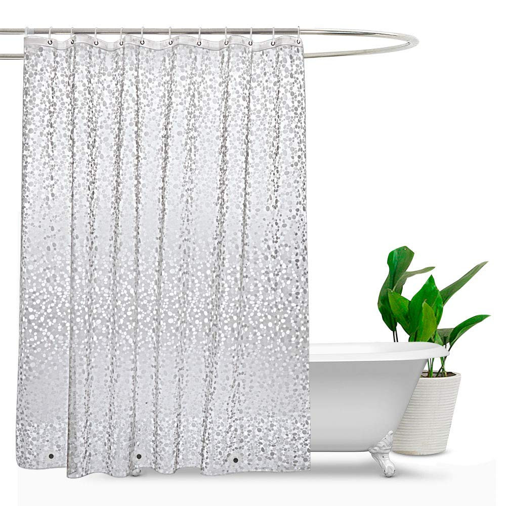 Extra Long Shower Curtain Waterproof Weighted Mould Proof Resistant Pebble Showe