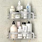 STEUGO Lot De 2 Adhésif Etagère de Douche d'angle, Caddy de coin de douche, Etagère de douche murale avec 4 Crochets, Organis