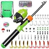 Hozzen Kids Fishing Pole, 59PCS Kids Fishing Kit, Portable Telescopic Fishing Rod and Reel Combos Full Kits, Gift for 3-10 Ye