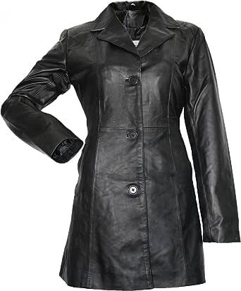 Trench da donna in pelle, cappotto in vera pelle in nappa di agnello, in pelle nero
