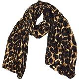 GM Accessories - Sciarpa con stampa leopardo extra large e super morbida, con stampa leopardo, da donna, taglia grande, con s