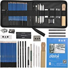 YOTINO 35Pcs Professional Graphite Sketch Pencil Art Kit with Book, Charcoals, Pastels, Tools, Erasers, Bag for Shading, Drawing