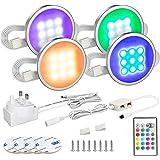 Under Cabinet Lighting, MYPLUS 4 Led Puck Lights Kit with Remote Control Color Change,12V Cabinet Lights, 16 Single Color and