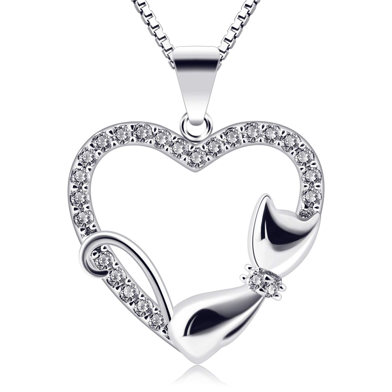B.Catcher Collar Mujer Plata de Ley 925 corazón Colgante con Regalo Originales Cadena 45cm Longitud