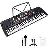 Barnpiano, 61 tangent bärbart digitalt pianotangentbord med musikstativ och interaktiv LCD-skärm, uppladdningsbar elektronisk