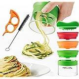 3 Klingen Spiralschneider Hand für Gemüsespaghetti kartoffel - mit BÜNDEL Kochbuch und enthält die Bürste für die Reinigung FabQuality Zucchini Spargelschäler, Gurkenschneider