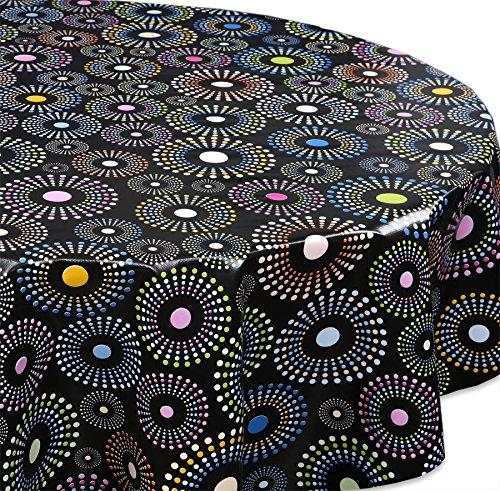 Wachstuch Tischdecke Gartentischdecke abwischbar Glatt, Rund Oval, Motiv Farbe und Größe wählbar (Oval 140x200 Marmor Schwarz)