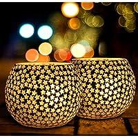 The Purple Tree Glass Mosaic Tealight Candle Holder, (Pack of 2) , Candle Holder, Diwali Candle Holder, tealight Holder…