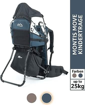 Montis Move Kraxe Kindertrage bis 25kg Kinder-Gewicht mit vielen Extras sowie Erweiterungen - geringes Eigengewicht, passend für beide Elternteile - geeignet als Einstieger Rückentrage
