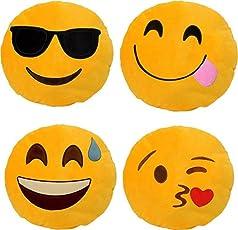 Nitsha Emoji Smile Round Pillow Pack-4