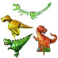 PartyWoo Geburtstag Luftballons 3 Dinosaurier Folienballons & 1 Dinosaurier Happy Birthday Banner Party Ballons Helium…