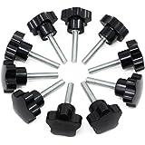 Hseamall 10pcs M8x40 fil de serrage bouton noir en plastique bouton en forme d'étoile vis sur le bouton pour la machine-outil