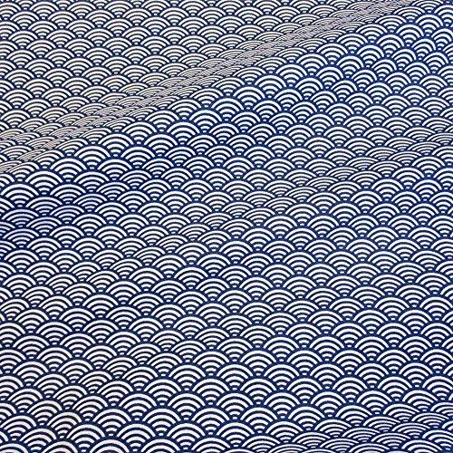 Tela tela de algodón metro Japón Ondas Azul Blanco seigaiha Kimono