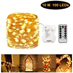 Fairy String Light Copper Wire Lighting Starry Lamp 100 LED with Remote Control Timer Battery Operated Warm White for...