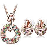 Kami Idea Set di Gioielli, Arcobaleno, Collana e Orecchini, Placcato in Oro Rosa, Cristalli Colorati di Swarovski, Elegante P