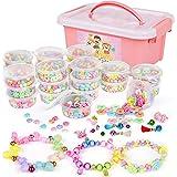 Sanlebi Bambini Perline,2000 PCS Perline Colorate Kit Braccialetti Bambini Kit Gioielli Fai-da-Te Creativi con Scatola per Ra
