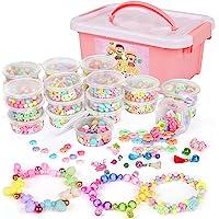 Sanlebi Enfants Bricolage Perles Set, 2000 Pièces Bracelet Perle pour Fabrication de Bracelets,Collier, Kit Fabrication…