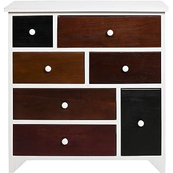 rebecca srl kommode schubladenschrank schubladenkommode sideboard 7 schubladen paulownienholz mehrfarbig knopfen shabby look schlafzimmer wohnraume