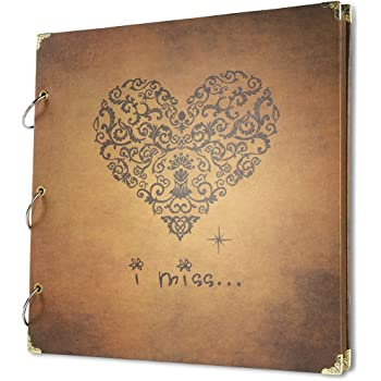 Pulaisen Heart Shaped Leather Scrapbook Handmade Wedding Black Paper