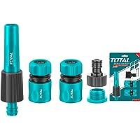 Total 5 PCS Hose Quick Connectors Set with Twist Spray Nozzle, ABS Material THHCS05122