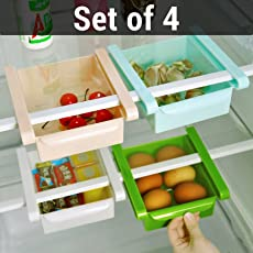 TIED RIBBONS Fridge Space Saver Organizer Slide Storage Rack Shelf Drawer (Multicolour, TR-FridgeSlidingDrawer2L007 ) - Set of 4 Pieces