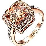 Yoursfs - Anelli da donna placcati in oro rosa con zircone cubico giallo anelli di fidanzamento