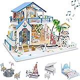 GuDoQi Kit de Maison De Poupée Bricolage, Maison de Poupée Miniature en Bois avec Mobilier et Musique, Modèle de Appartement