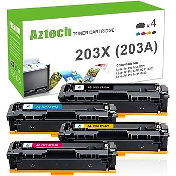 Aztech 4 Pack XXL Compatible for HP 203X CF540X CF541X CF542X CF543X 203A CF540A HP Color LaserJet Pro M281fdw MFP M281 fdw M281fdn M280nw M280 M254dw M254nw M254 Colour Laser Printer