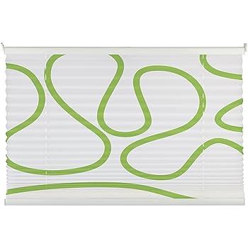 mydeco 120x130 cm bxh mit muster wei grn plissee jalousie - Plissee Muster