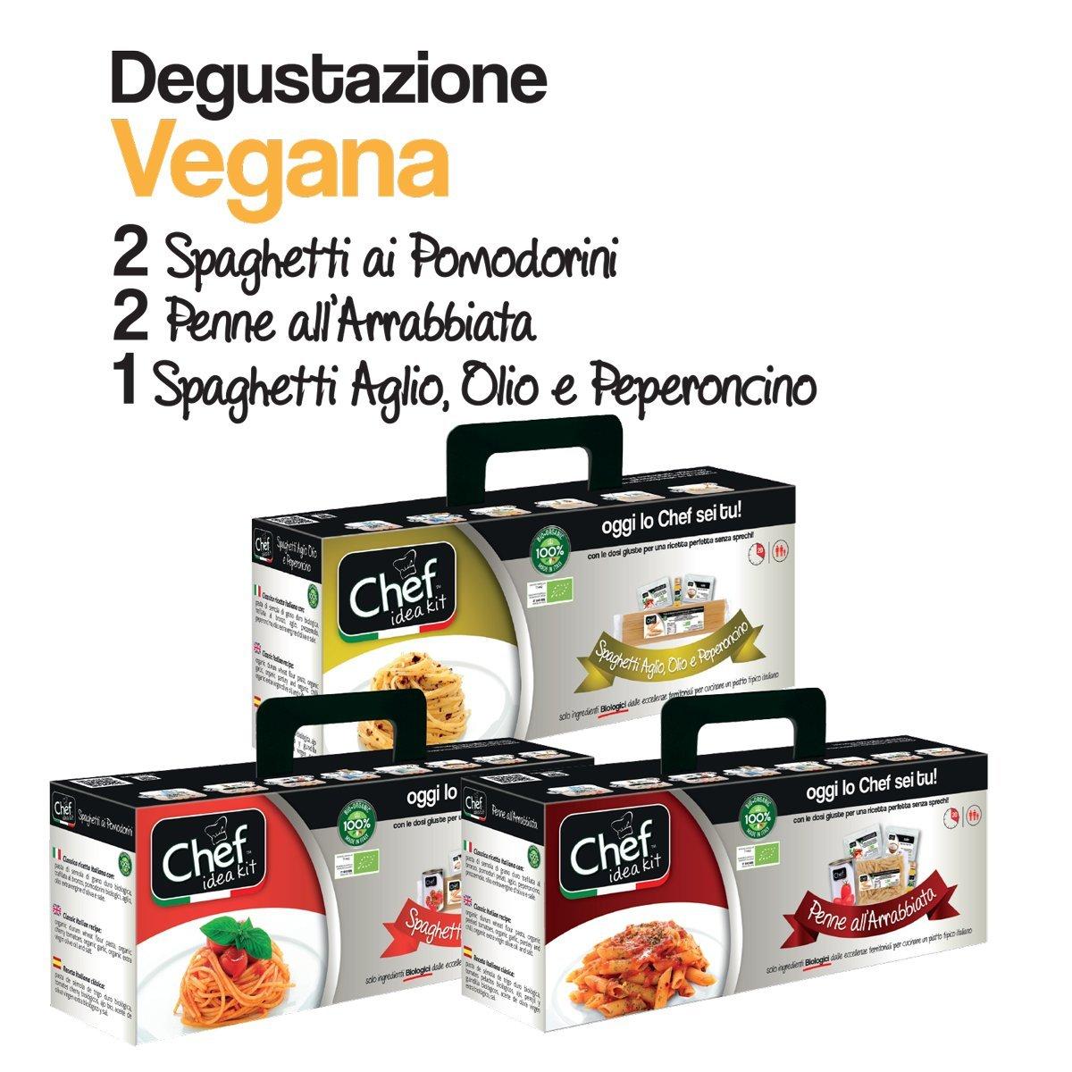CHEF IDEA KIT - DEGUSTAZIONE PASSIONE VEGANA - 2 kit di Spaghetti ai Pomodorini + 2 kit di Penne all
