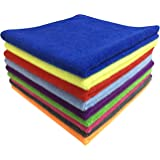 SOFTSPUN Microfiber Cleaning Cloths, 5pcs 40x40cms 340GSM Multi-Colour! Highly Absorbent, Lint and Streak Free, Multi -Purpos